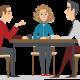 illustratie waarop drie personen een informeel gesprek voeren in het kader van de informele aanpak