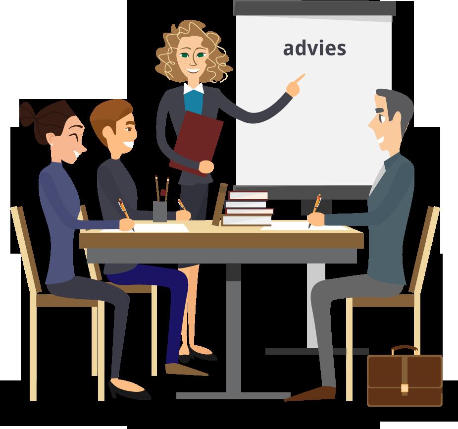 illustratie waarop vier personen het advies bespreken