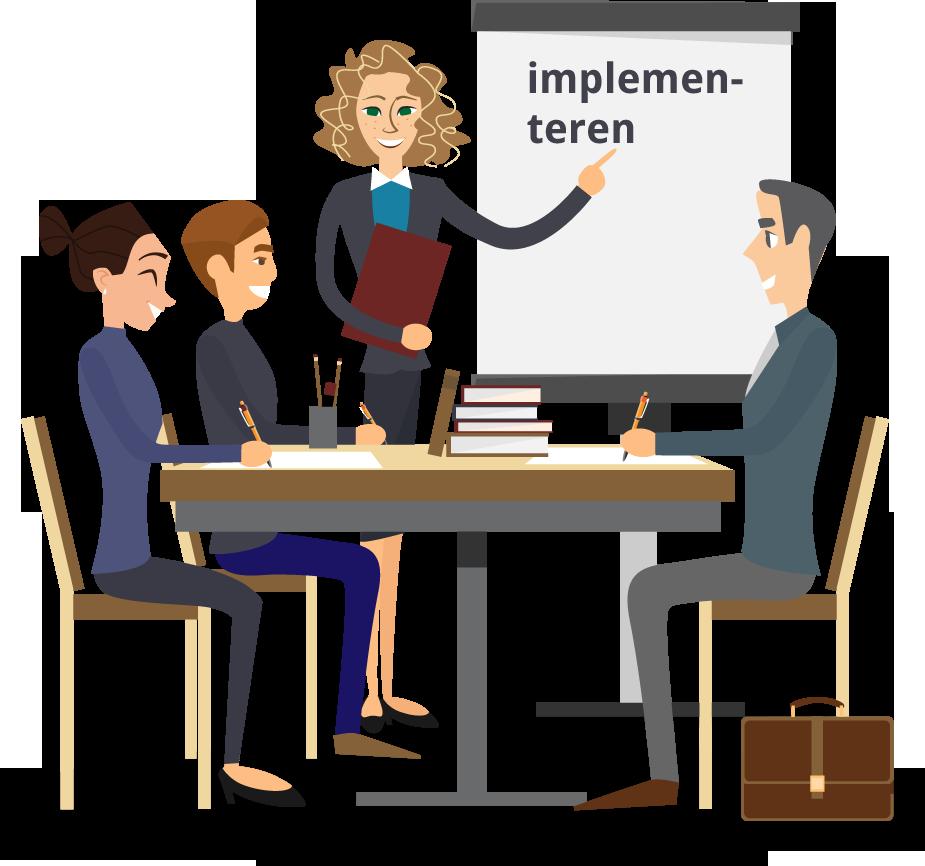 illustratie waarop vier personene bespreken hoe het nieuwe proces te implementeren