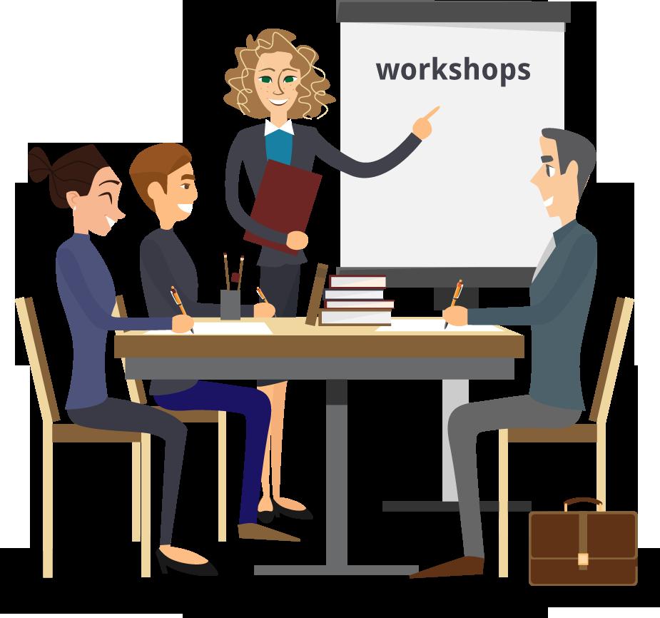 illustratie waarop drie personen een workshops volgen en één persoon deze workshop geeft bij een whiteboard