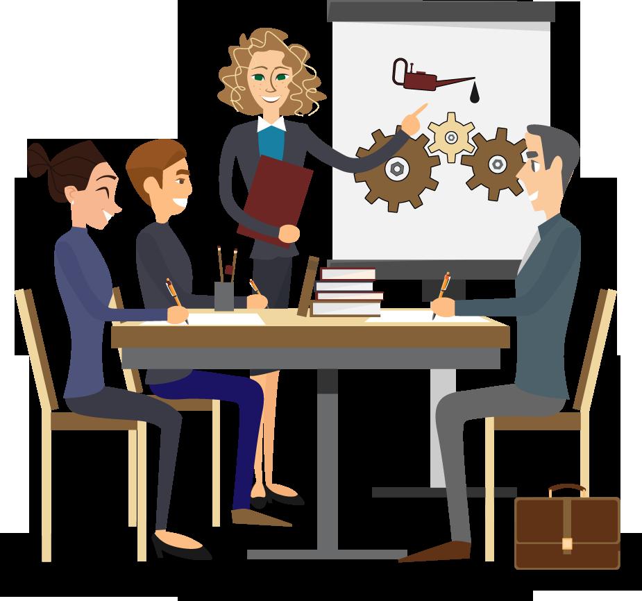 illustratie waarop de bezwaarproces-verbeteraar in gesprek is met drie personen over mogelijke verbetering van het bezwarenproces